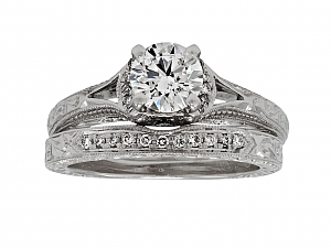 Neil Lane 0.73ct Diamond Ring and Eternity Band in 14K White Gold