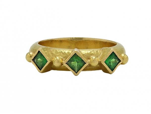 Elizabeth Locke Three Stone Tsavorite Ring in 18K Gold