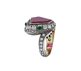 Rubellite, Diamond and Emerald Snake Ring in Silver over Gold