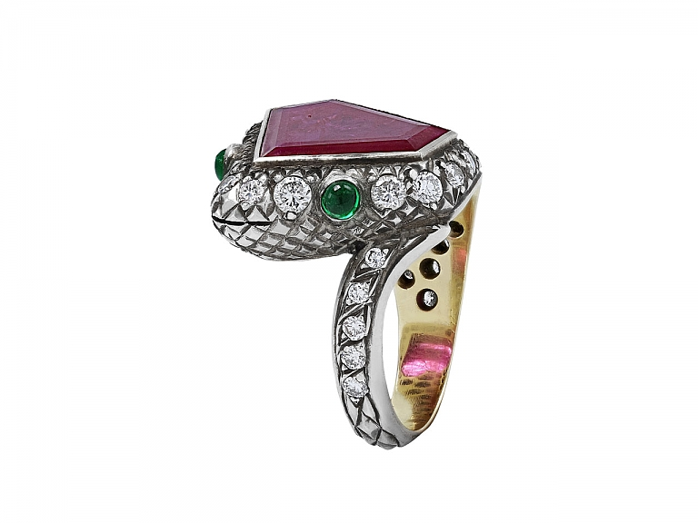 Video of Rubellite, Diamond and Emerald Snake Ring in Silver over Gold