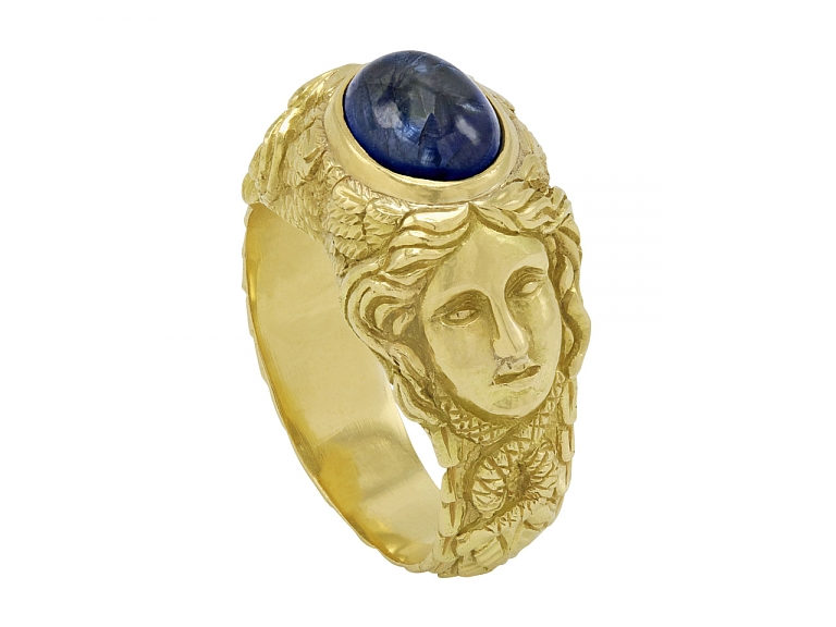 Video of Cabochon Sapphire Ring in 18K Gold