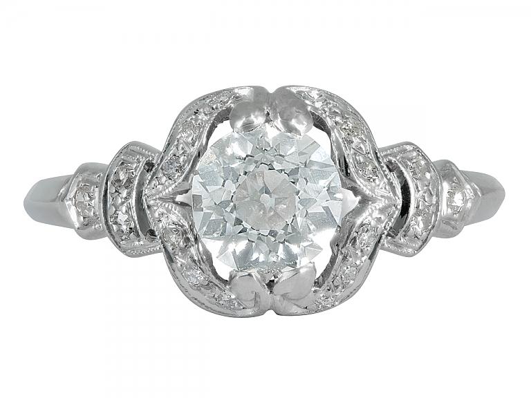 Video of Antique Edwardian Old European-Cut Diamond, 1.04 Carat I/VS-1, Ring in Platinum