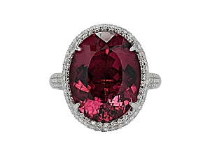 Tourmaline, 13.43 ct, and Diamond Cocktail Ring in 18K White Gold