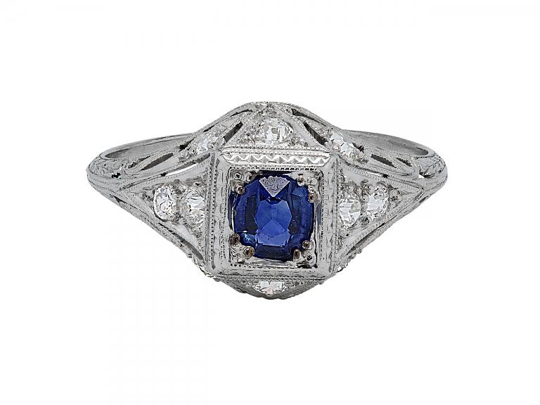 Video of Art Deco Sapphire and Diamond Ring in Platinum