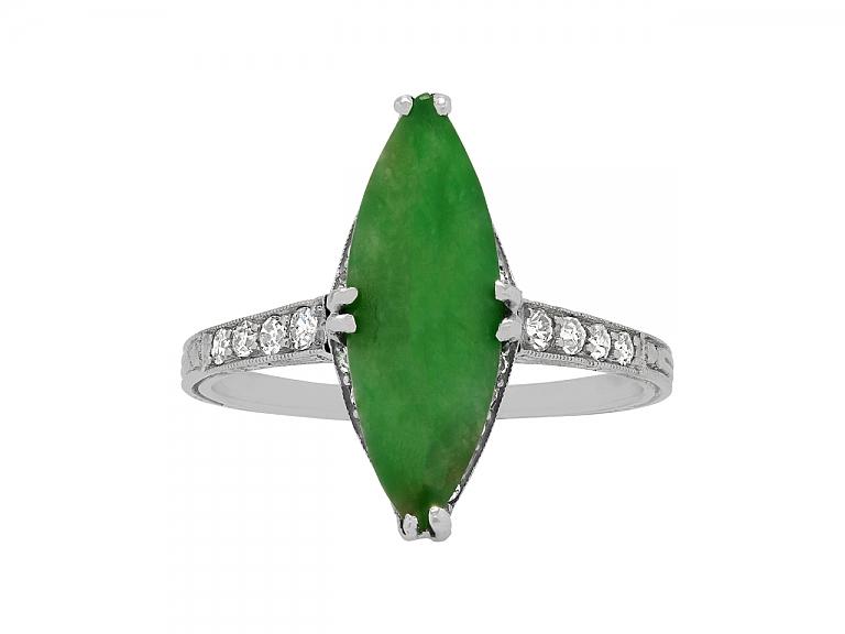 Video of Art Deco Jade and Diamond Ring in Platinum