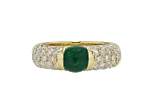 Giovane Emerald and Diamond Ring in 18K Gold