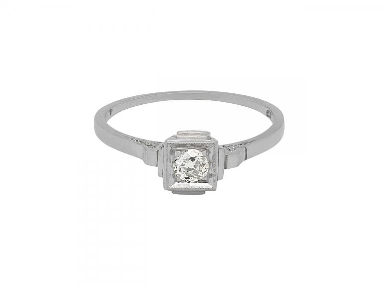 Video of Art Deco Diamond Ring in 14K White Gold