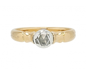 Antique Diamond Ring in 14K Gold and Silver