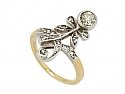 Antique Victorian Diamond Ring in Silver over 14K