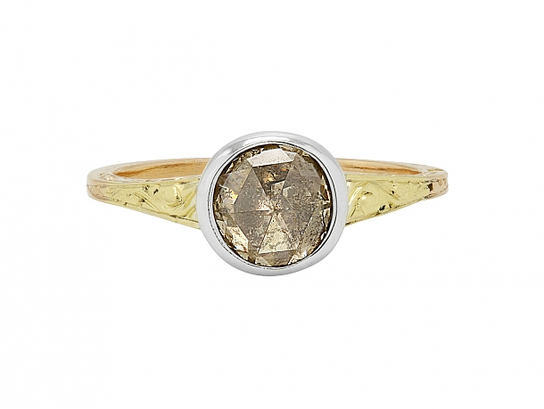 Antique Georgian Diamond Ring in 15k Gold and Silver