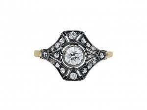 Antique Victorian Old-Cut Diamond Ring in Silver-topped 14K Gold