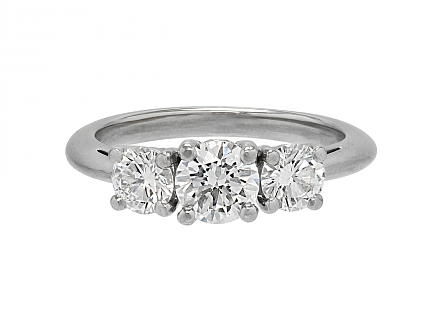 Tiffany & Co. Three Stone Diamond Ring, 1.11 carats total, in Platinum