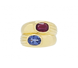 Bulgari Ruby and Sapphire Ring in 18K Gold