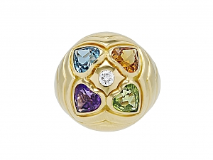 Bulgari Multi-Gemstone and Diamond Heart Cocktail Ring in 18K Gold