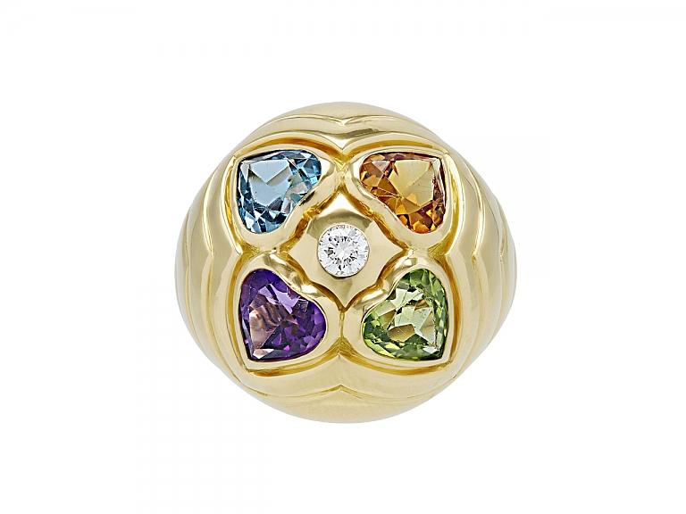 Video of Bulgari Multi-Gemstone and Diamond Heart Cocktail Ring in 18K Gold