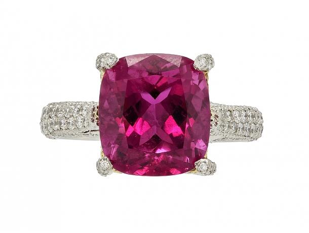 Pink Tourmaline and Diamond Ring in Platinum