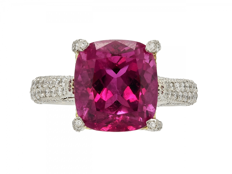 Video of Pink Tourmaline and Diamond Ring in Platinum