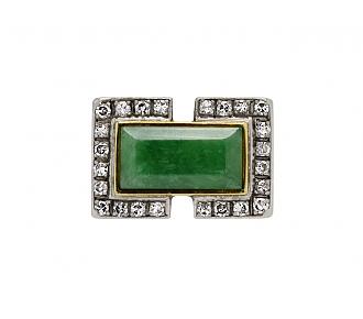 Jade and Diamond Ring in 18K