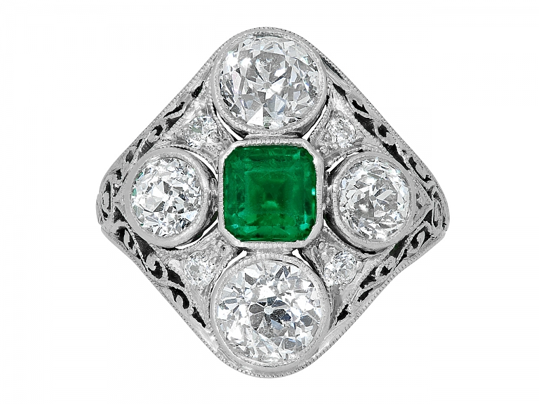 Video of Edwardian Emerald and Diamond Ring in Platinum