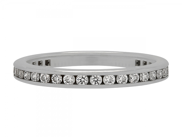 Video of Tiffany & Co. Channel-Set Diamond Eternity Band in Platinum