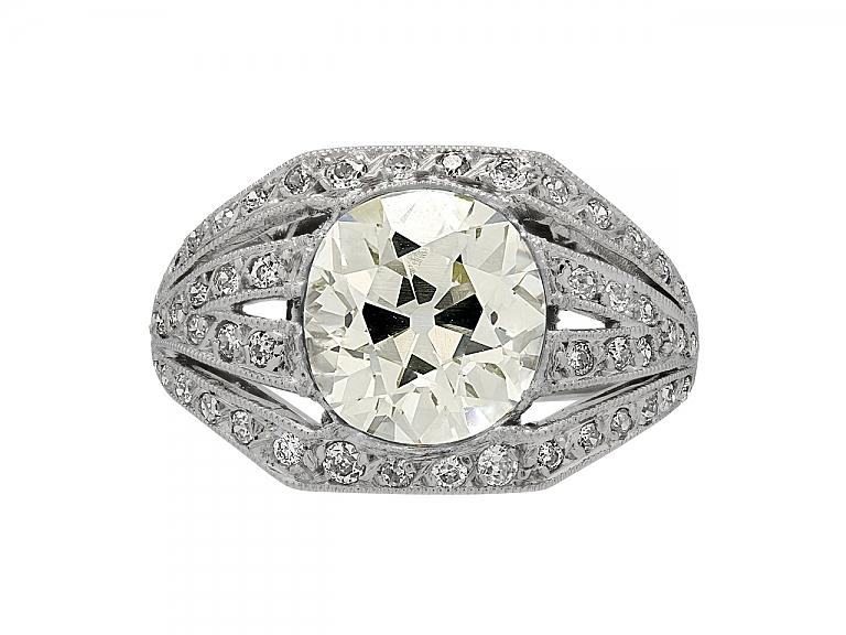 Video of Mid-Century Old-mine Cut Diamond Ring, 3.30 carat Q-R VS-1, in Platinum