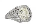 Mid-Century Old-mine Cut Diamond Ring, 3.30 carat Q-R VS-1, in Platinum