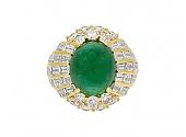 Cabochon Emerald, 10.00 Carat Zambian, and Diamond Ring in 18K Yellow Gold