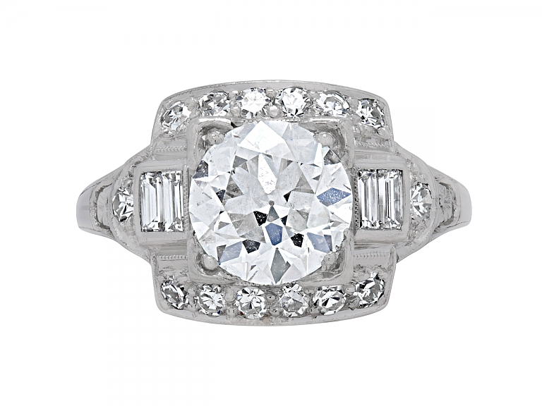 Video of Art Deco Transitional-Cut Diamond Ring, 1.62 carats I/SI-1, in Platinum