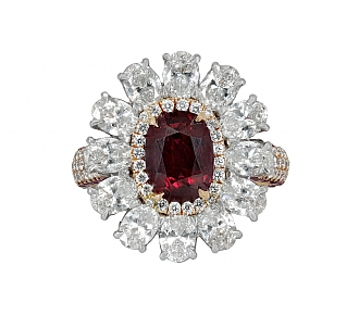 Natural Thai Ruby, 2.13 Carat, and Diamond Floral Ring in 18K