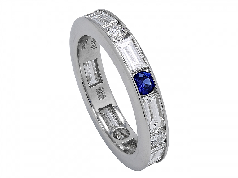 Video of Harry Winston Diamond and Sapphire Eternity Band in Platinum