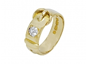 Antique Victorian Diamond Buckle Ring in 18K Gold