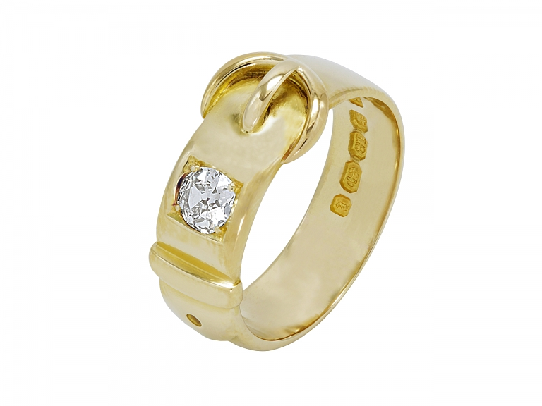 Video of Antique Victorian Diamond Buckle Ring in 18K Gold