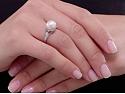 Mid-Century Pearl and Diamond Ring in Platinum