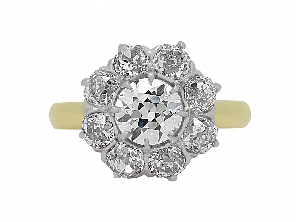 Antique Edwardian Old-Cut Diamond Cluster Ring in 18K Gold