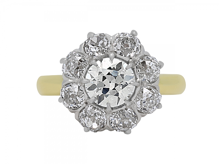 Video of Antique Edwardian Old-Cut Diamond Cluster Ring in 18K Gold