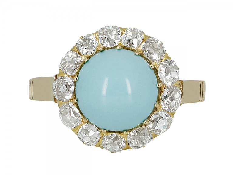 Video of Antique Victorian Turquoise and Diamond Ring in 14K Gold