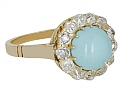 Antique Victorian Turquoise and Diamond Ring in 14K Gold