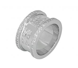 "Diamond ""PEACE"" Ring in 18K White Gold"