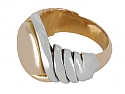 Mid-Century Signet Ring in 18K Gold and Platinum