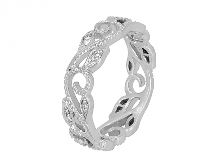 Rhonda Faber Green 'Vine' Diamond Ring in 18K White Gold