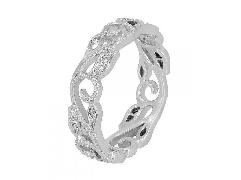 Video of Rhonda Faber Green 'Vine' Diamond Ring in 18K White Gold