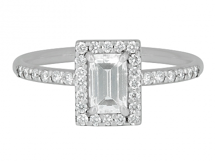 Rhonda Faber Green Baguette Diamond Ring in 18K