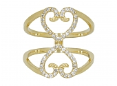 Rhonda Faber Green Diamond Double Heart Ring in 18K Gold