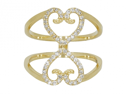 Rhonda Faber Green Diamond Double Heart Ring in 18K Gold