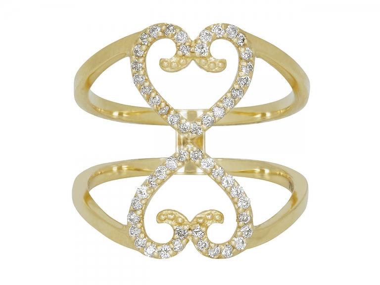 Video of Rhonda Faber Green Diamond Double Heart Ring in 18K Gold