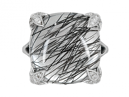 Rhonda Faber Green Rutilated Quartz, Onyx and Diamond Ring in 18K White Gold