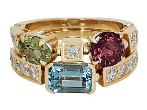 Bulgari 'Allegra' Multi Colored Gemstone and Diamond Ring in 18K Gold