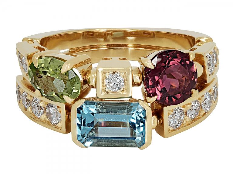 Video of Bulgari 'Allegra' Multi Colored Gemstone and Diamond Ring in 18K Gold