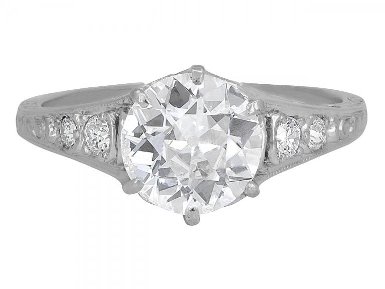 Video of Art Deco Diamond Solitaire Ring, 1.62 carat F/SI-1, in Platinum