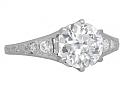Art Deco Diamond Solitaire Ring, 1.62 carat F/SI-1, in Platinum